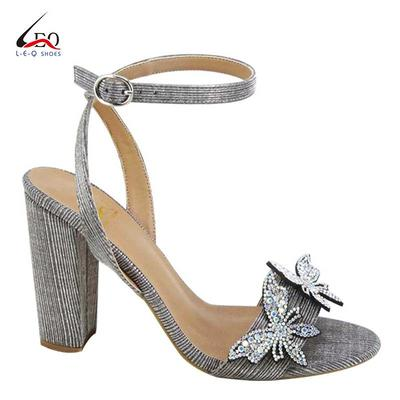 Ladies Fashion High Heel Sandals Women Shoes With Two Flowers Young Girls High Heel Sandal With Shine Diamond Butterfly  Latest
