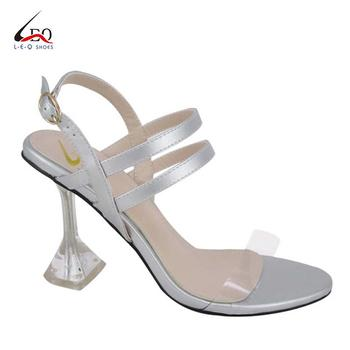 Young Girls Fashion Sandal Ladies Slim Crystal Heel Sandal Shoes Lady's High Heel Sandals Wedding Shoes Fashion Transparent High Heel Sandals Women's Glass  High Heel Sandal
