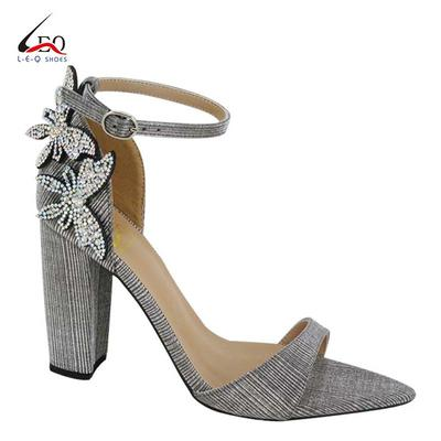 High Quality Pointed Shoes Girls High Heel Sandal Women's High Heel Cover Back Sandals  With Diamond Flowers Special For Ladies