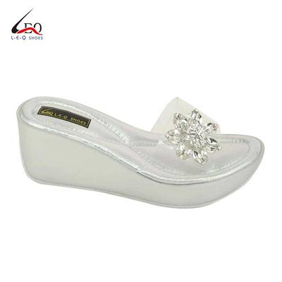 Women's Wedge Slippers PU Sole Outdoor Fashion Slippers Ladies Fashion Slippers Mid Heel With Trasparent TPU Upper And Glass Flowers Special Design Of Women's Casual Wedge Platform Shoes Hot Selling For 2020