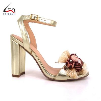 Latest Design Shoes With Flowers Combination Ladies Thick Heel Sandals
